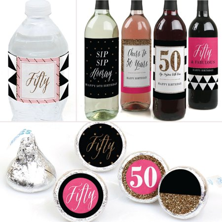 Chic 50th Birthday - Birthday Party Decorations & Favors Kit - Wine, Water and Candy Labels Trio Sticker Set