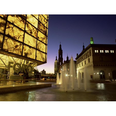 Museo Del Foro And Fountains In The Plaza De La Seo Illuminated At Night Zaragoza Aragon Spain Print Wall Art By Ruth Tomlinson