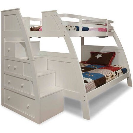 Better Homes And Gardens Kids Sebring Twin Over Full Bunk Bed With Storage White Finish