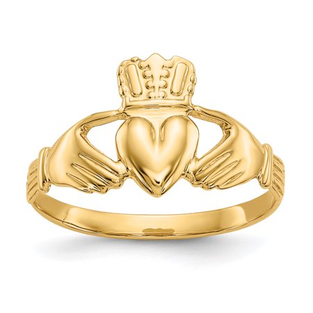 14k Yellow Gold Celtic Ring (14kt Yellow Gold Irish Claddagh Celtic Knot Band Ring Size 6.00 Fine Jewelry Ideal Gifts For Women Gift Set From)
