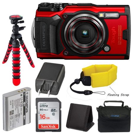 Olympus Tough TG-6 Waterproof Digital Camera (Red) + Pixibytes Basic Bundle + Underwater Package (Digital Camera Waterproof Olympus)