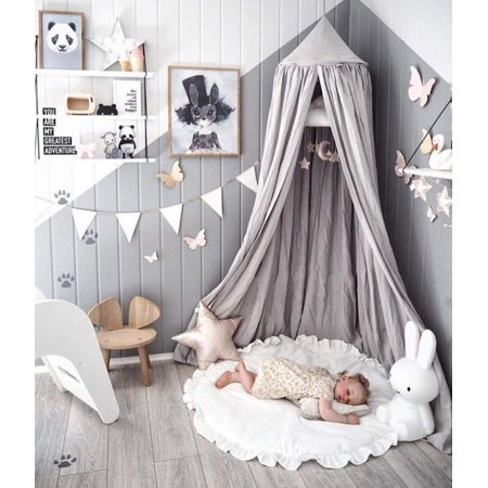 Round Wood Canopy (Moaere Princess Bed Canopy Mosquito Net Round Dome Kids Indoor Outdoor Castle Play Tent Hanging House Height)