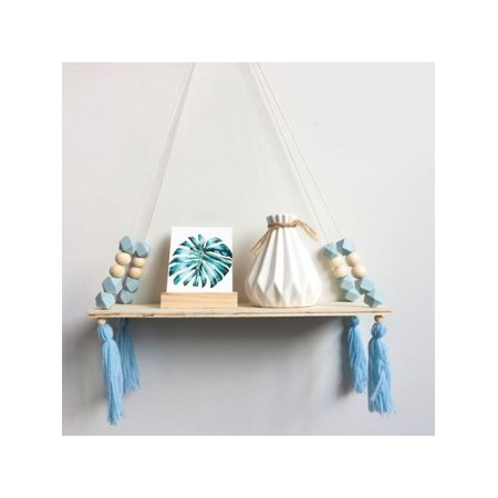 VICOODA Hanging Shelf with Pure Color, Nordic Style Wooden Bead Tassels Storage Rack Wall Rope Hanging Shelf Ornament for Bedroom, Living Room, Kitchen, Office