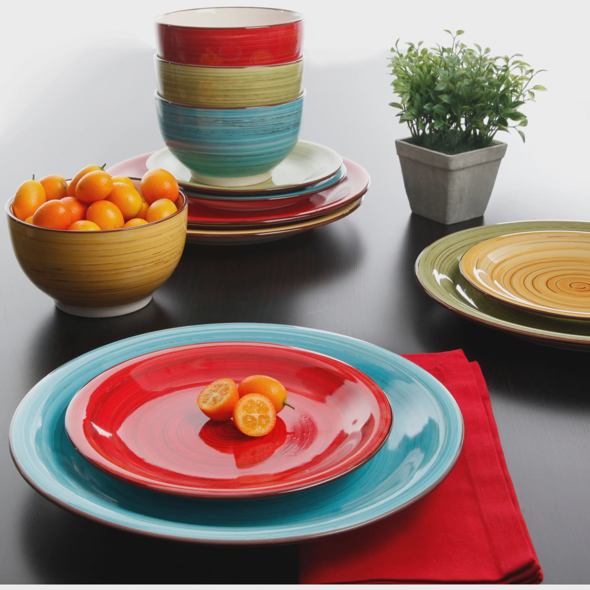 Enliven ... & Dinnerware Set 12-Piece Assorted Dishwasher and Microwave Safe ...
