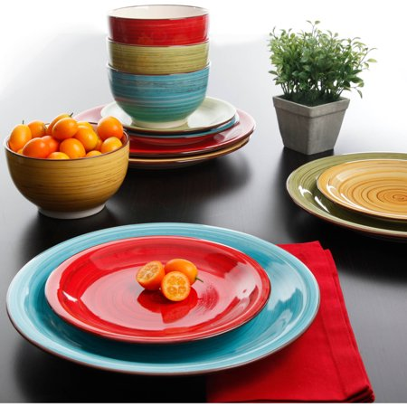 Better Homes & Gardens Festival Dinnerware, Assorted Colors, Set of 12 (Melamine Baby Dish Set)