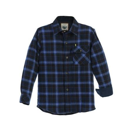 Gioberti Little Boys Blue Navy Corduroy Contrast Flannel Plaid Shirt 4-7