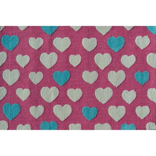 "The Rug Market Heart Dot Pink 2.8"" x 4.8"" Area Rug by The Rug Market"