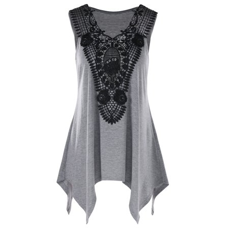 3da784beaf NEXTMIA - Womens Tank Tops Plus Size V Neck Lace Trim Tank Top For Women  Girls - Walmart.com