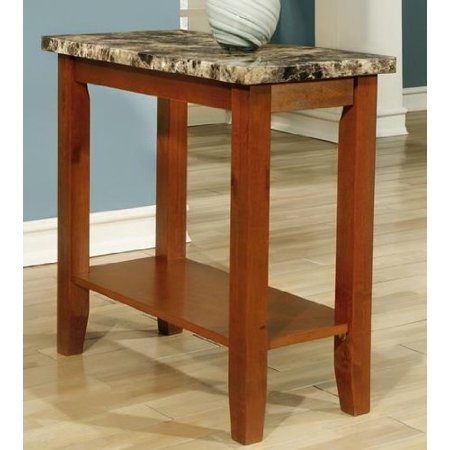 rectangular walnut faux marble top chair side table end table by particle board w birch veneer. Black Bedroom Furniture Sets. Home Design Ideas