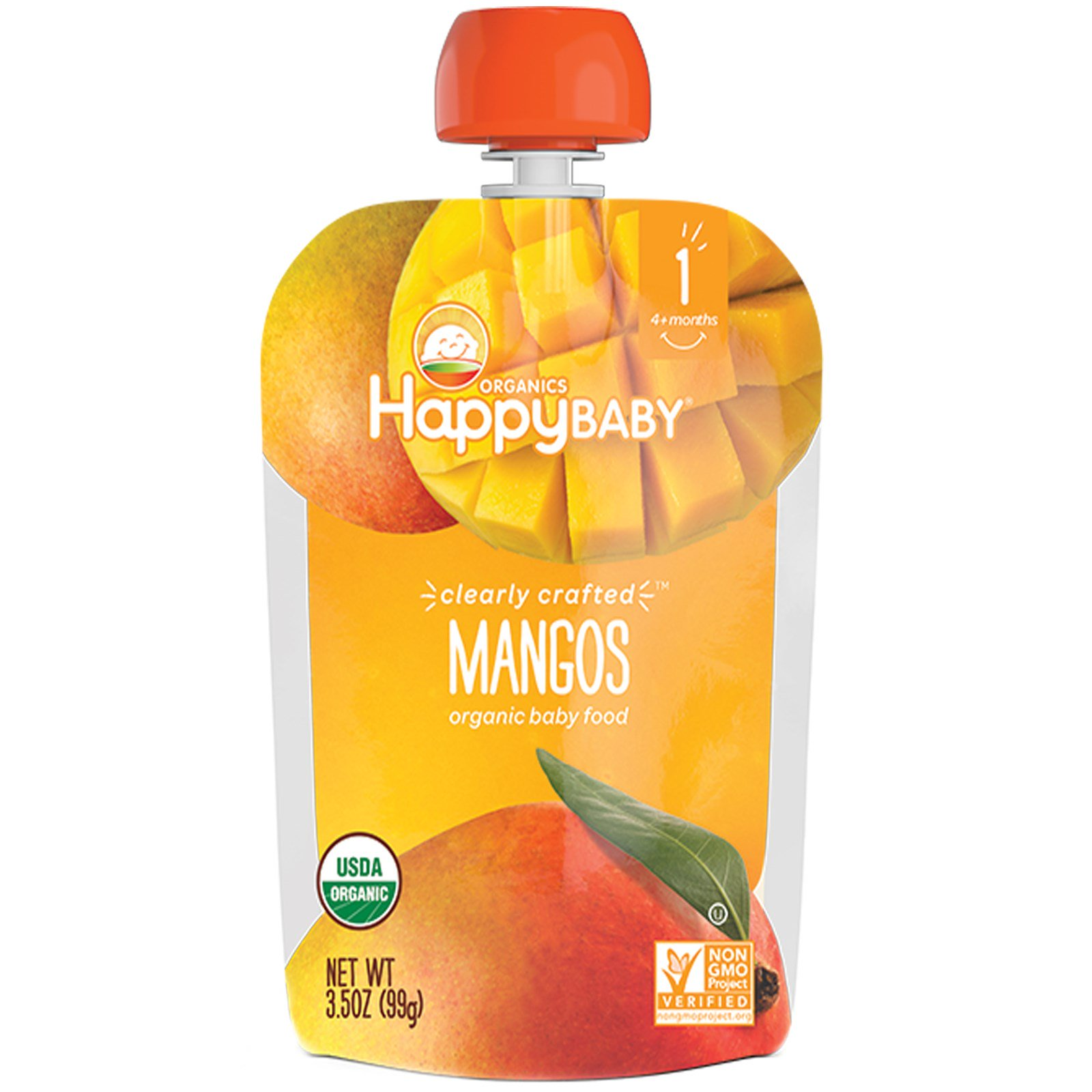 Nurture Inc. (Happy Baby), Organic Baby Food, Stage 1, Clearly Crafted, Mangos, 4 + Months, 3.5 oz (pack of 2)