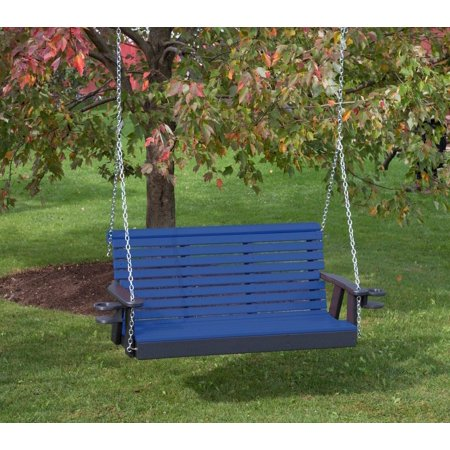 Outdoor Garden Lawn Exterior Blue Finish 5Ft-Poly Lumber Roll Back Porch Swing With Cupholder Arms Everlasting Amish (Essex Swing Arm)