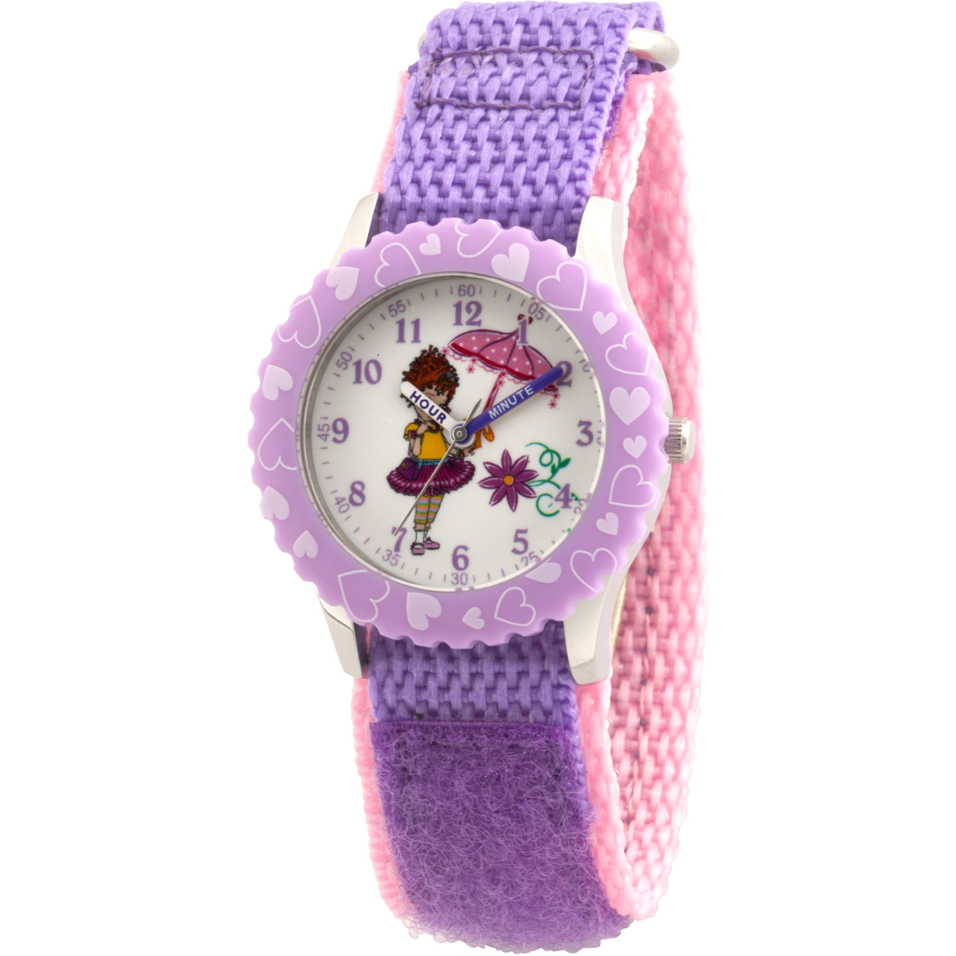Fancy Nancy Girls' Stainless Steel Time Teacher Watch, Purple Bezel, Purple Hook and Loop Nylon Strap with Pink Backing