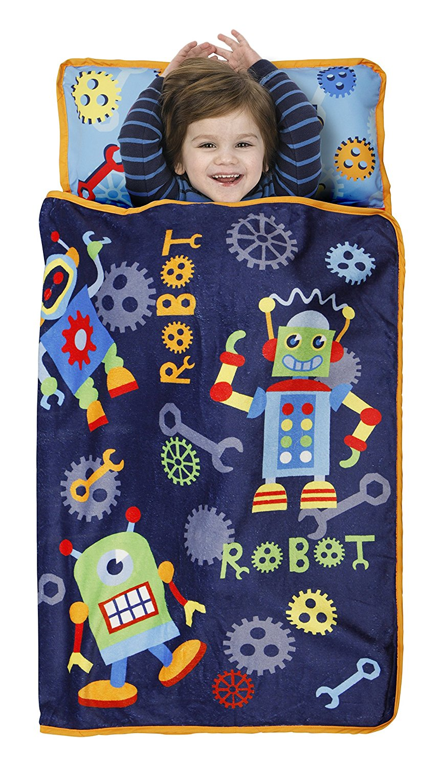 Toddler Nap Mat, Action Robots Blue Red, Great for Day Care, Overnights, and Nap Time By Baby Boom by Baby Boom