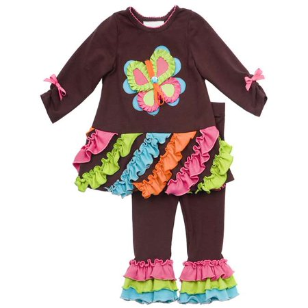 Rare Editions Girls Clothing :  Brown Butterfly Pant Set  FINAL SALE 4-one - Girls On Sale