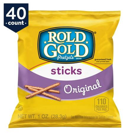 Rold Gold Pretzel Sticks Snack Pack, Original, 1 oz Bags, 40 Count - Pretzel Sticks