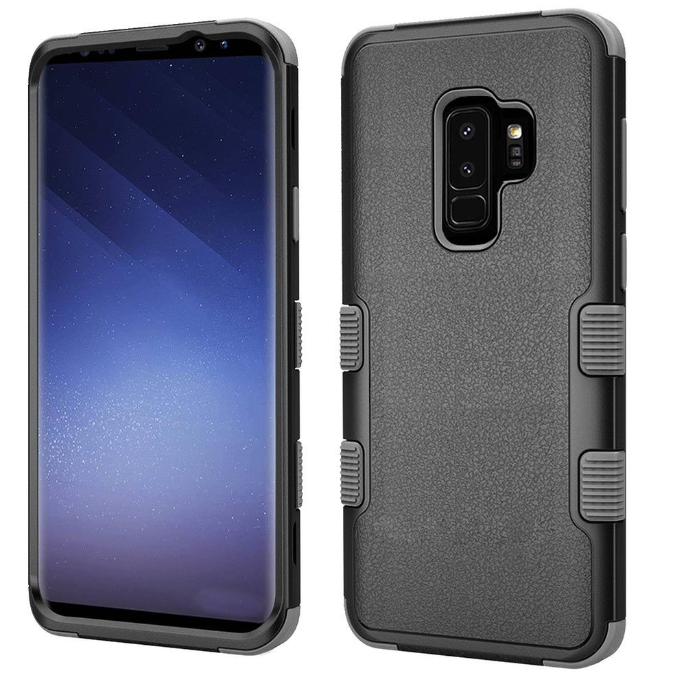 Insten Tuff Dual Layer Hybrid PC/TPU Rubber Case Cover For Samsung Galaxy S9 Plus S9+ - Black/Gray (Bundle with USB Type C Cable) - image 3 of 3
