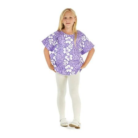 Made in Hawaii Girl Elastic Strap Hawaiian Luau Poncho Top in Line Floral Purple 2](Purple Poncho)