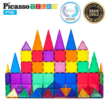 PicassoTiles 60 Piece Clear 3D Magnetic Building Blocks Tiles Set ()