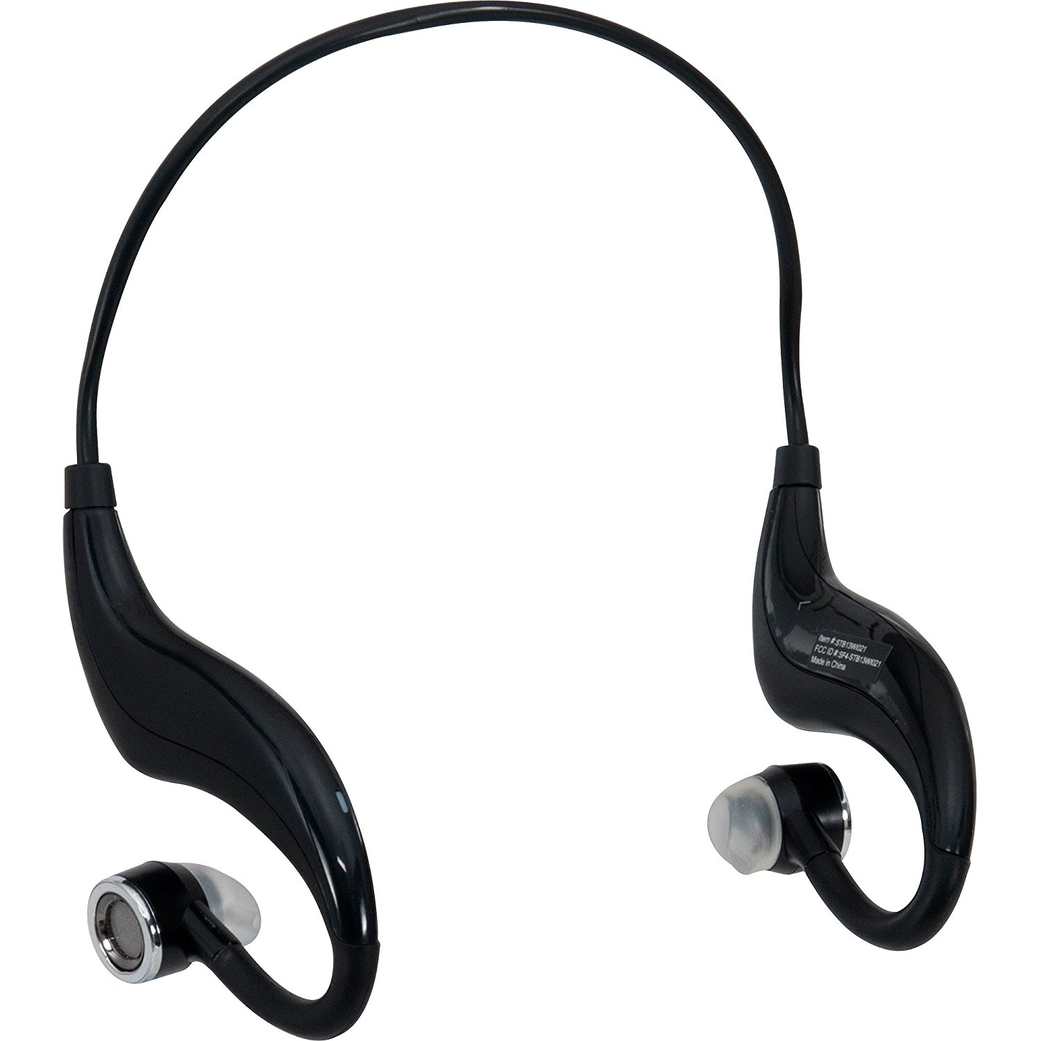 Straight Talk Stereo Bluetooth Wireless Headphones with Wrap-Around Ear Hooks and Flexible Design, Black (New Open Box)