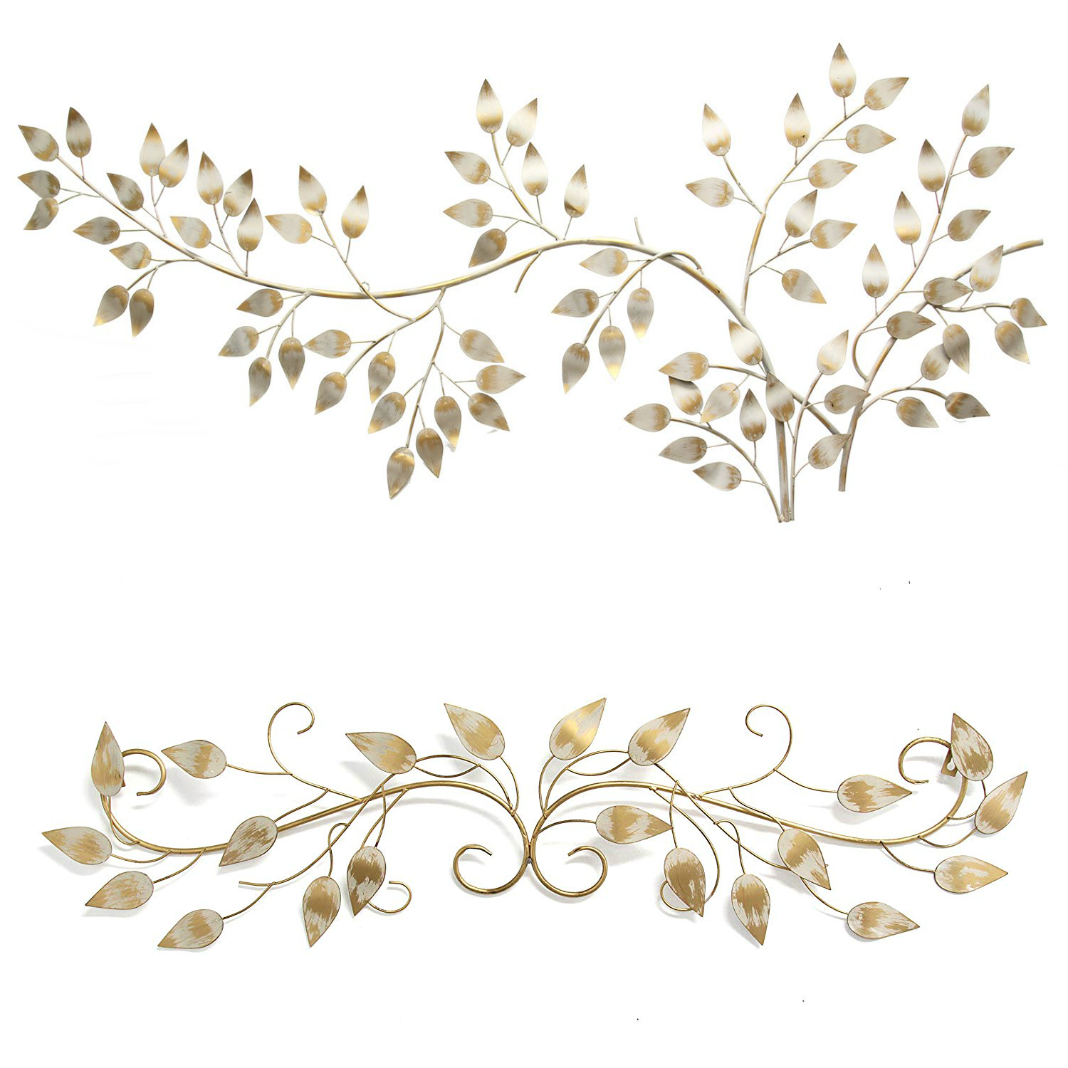 Stratton Home Decor Brushed Gold Over The Door Scroll Wall Decor Multicolor With Brushed Flowing Leaves Wall Decor Gold And Metallic White Walmart Com Walmart Com