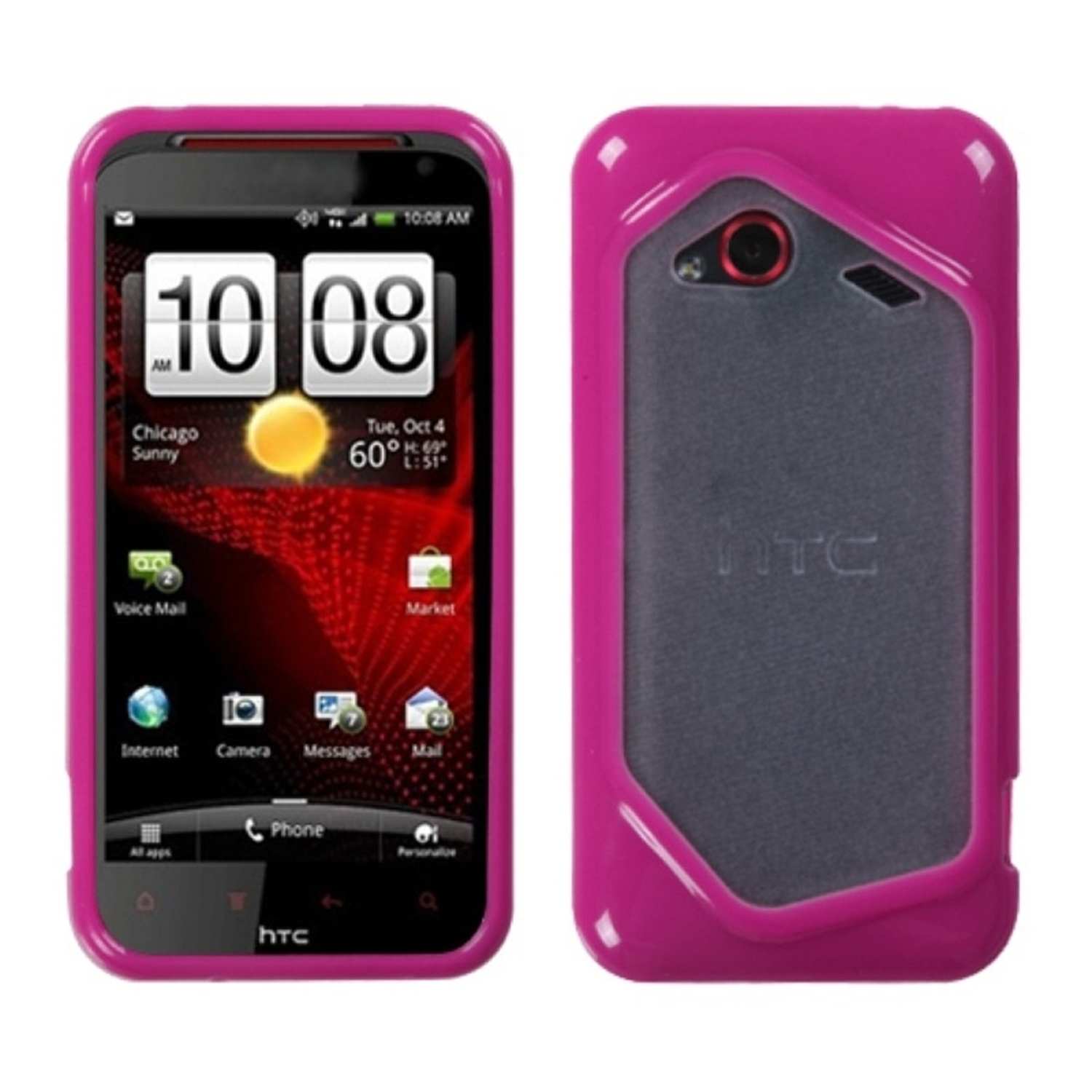Insten Transparent Clear/Solid Hot Pink Gummy Cover Case for HTC: ADR6410 (INCREDIBLE 4G LTE)