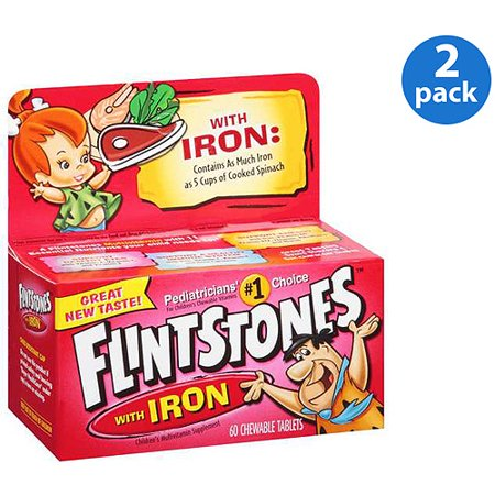 (2 Pack) Flintstones Children's Chewable Multivitamins with Iron, 60