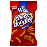 Wise Cheez Doodles Baked Puffs? Cheddar Cheese Flavored Corn Snacks 2.375 oz. Bag