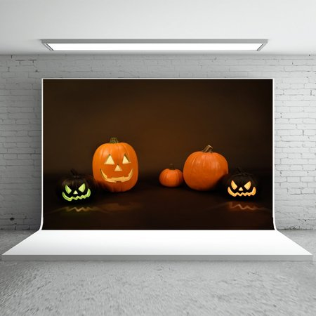 HelloDecor Polyster 7x5ft Halloween Photo Backdrops Smiley Pumpkins Gray Backgrounds for Children Photo Booth Props - Kids Halloween Photo Booth