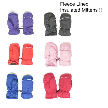 Magg Kids Toddlers Fleece Lined Winter Snow Glove Waterproof Assorted Solid Color 2-4T mittens (Girls Red Gloves)