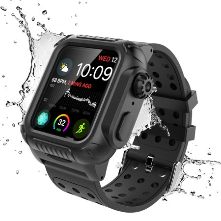 For 44mm iWatch Series 4 Waterproof Shock Proof Impact Resistant Watch Case + Watch Band (Black)