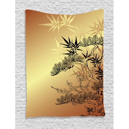 Japanese Tapestry, Asian Branches and Bamboo Motifs with Showy Fragrant Leaves Nature Illustration, Wall Hanging for Bedroom Living Room Dorm Decor, Sepia Black, by Ambesonne