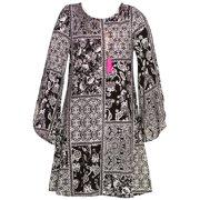 Girls Black Paisley Paneled Print Long Sleeved Dress 7