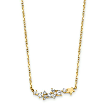 14K Yellow Gold Shooting Star with 1In Extender Cubic Zirconia Necklace