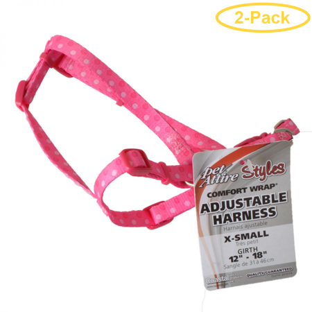 Pet Attire Styles Polka Dot Pink Comfort Wrap Adjustable Dog Harness F