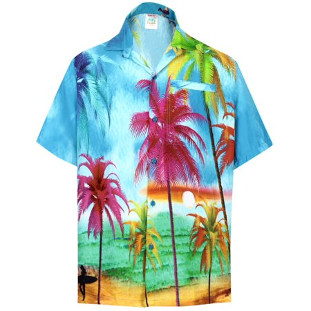 Hawaiian Shirt Mens Beach Aloha Camp Party Holiday Short Sleeve Pocket Palm Tree Print O