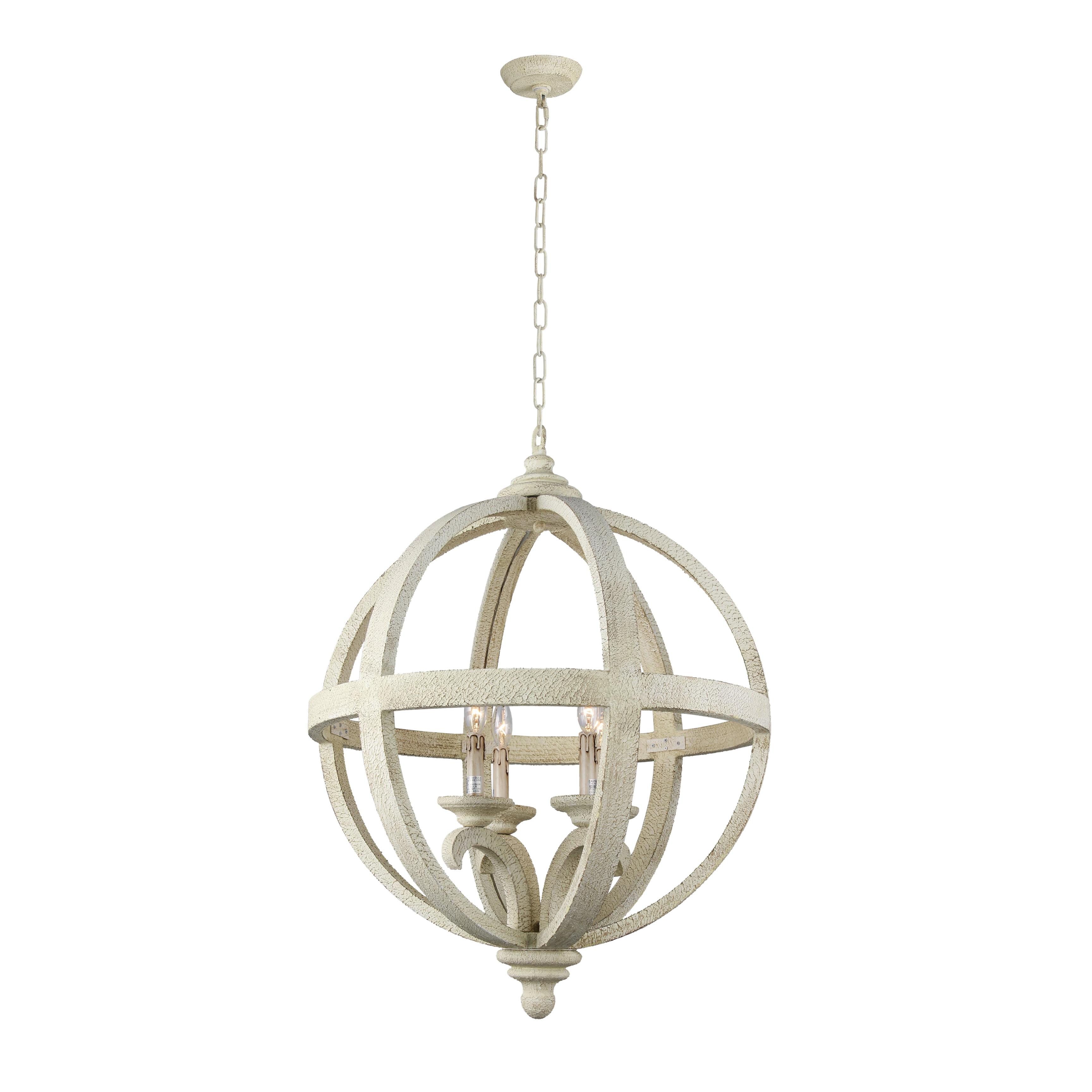 Hercules 4 light chandelier in wooden globe frame neutral