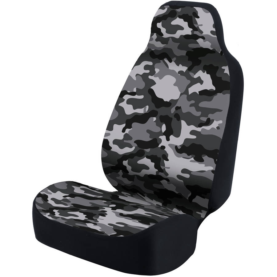Coverking Universal Printed Seat Cover, Ultra Suede Traditional Camo Urban Grey