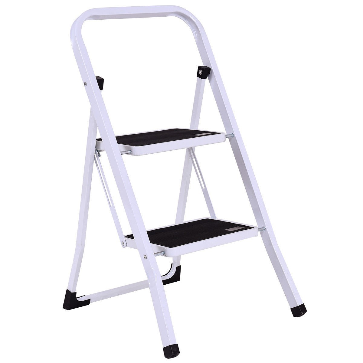 2 Step Ladder Folding Steel Step Stool Anti Slip Heavy