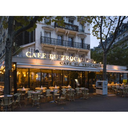 Chairs and Tables in a Restaurant at Dawn, Cafe Du Trocadero, Paris, Ile-De-France, France Print Wall Art