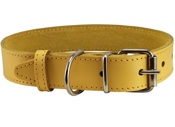 """Genuine Leather Dog Collar Yellow 4 Sizes (16""""-18.5"""" Neck; 1.2"""" Wide) by Dogs My Love LLC"""