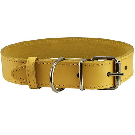 "Genuine Leather Dog Collar Yellow 4 Sizes (16""-18.5"" Neck; 1.2"" Wide)"