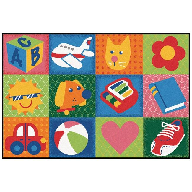 Carpets for Kids 36.25 Rectangle Toddler Fun Squares Rug - 3 x 4 ft. 6 in.