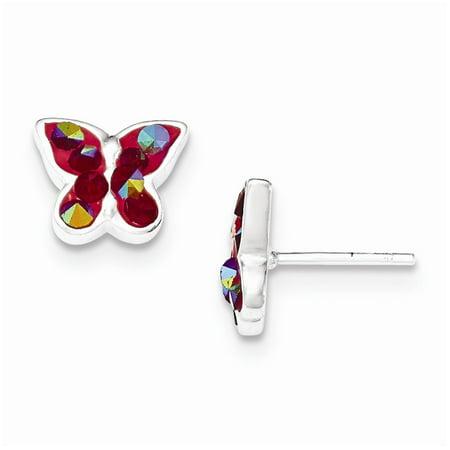 Sterling Silver Pink Crystal Butterfly Stud Earrings