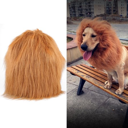 Dog Lion Mane, Turn Your Dog Into A Strong Lion, Big Pet Dog Lion Wig Mane, Lovely Tail, Festive Party Gorgeous Costume (brown)