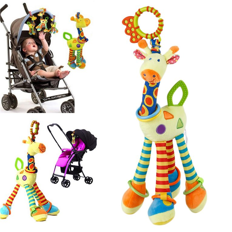 Randomly Delivered Cotton Plush Infant Baby Development Soft Giraffe Animal Handbells Rattles Handle Toys Tooth Gum Bed Bell Toy For Baby Hot Sale
