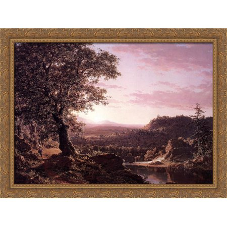 July Sunset  Berkshire County  Massachusetts 38X28 Large Gold Ornate Wood Framed Canvas Art By Frederic Edwin Church