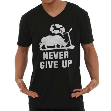 Brisco Brands Never Give Up Gym Chubby Rhino Adult V-Neck Tee Shirt Top