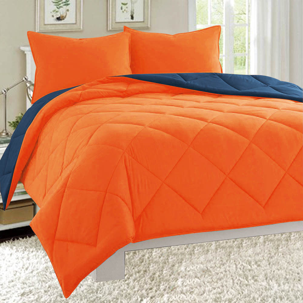 Dayton Twin Size 2-Piece Reversible Comforter Set Soft Brushed Microfiber Quilted Bed Cover Orange & Navy
