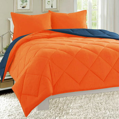 Ginger Bed Cover - Dayton Twin Size 2-Piece Reversible Comforter Set Soft Brushed Microfiber Quilted Bed Cover Orange & Navy