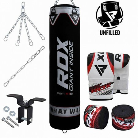 RDX 8pc Punching Bag Unfilled Heavy Boxing 5FT MMA Training Gloves Chains Black